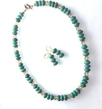 Handmade Geniune Turquoise Necklace 19 inches Set Free Earrings