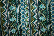 Greens Blues Ethnic Print #25 100 Rayon Challis Sewing Shirt Apparel Fabric BTY