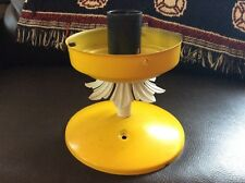 Vintage mid century retro Tole Metal ceiling Light Fixture yellow retro socket