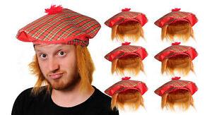 TAM O'SHANTER WITH HAT HAIR SCOTTISH TARTAN FANCY DRESS EUROS 2021 SCOTLAND LOT