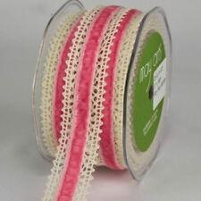 Ecru Green Velvet and Ecru Lace Ribbon Trim