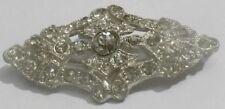 broche bijou ancienne toute incrusté de cristaux diamant couleur argent * 4764
