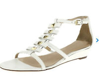 KATE SPADE Sz. 9.5 M Womens White Leather Ankle Strap Gold Studded Sandals
