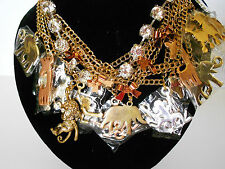 HUGE BETSEY JOHNSON HAUTE COUTURE NWT NECKLACE BOWS STONES POODLES  RETIRED