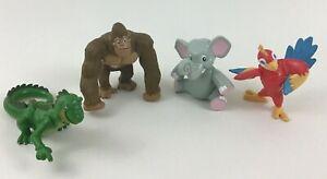 """Rainforest Cafe Lot of 4 Safari PVC 3"""" Figures Toys Parrot Elephant Gorilla Croc"""