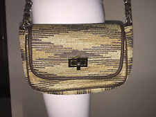 NWT $495 M MISSONI BROWN TAN FABRIC LEATHER CHAIN STRAP CROSSBODY BAG