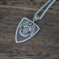 Saint Michael Archangel Warrior Angel Wings Cross Sword Shield Pendant Necklace