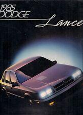 Dodge Lancer 1985 USA Market Sales Brochure Standard ES