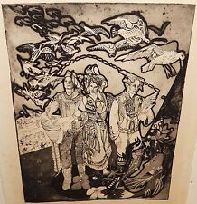 MAN BIRDS AND FISHES ORIGINAL UNUSUAL GOTHIC BLACK AND WHITE ETCHING UNSIGNED