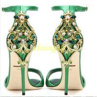 Womens Rhinestone Party Wedding Satin Bridal Shoes High Heel Open Toe Stilettos