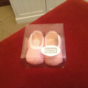Pink dotty baby booties