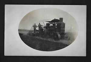 RPPC Breaking Sod With An Antique Steam Tractor Real Photo Postcard