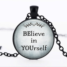 BElieve in YOUrself Black Glass Cabochon Necklace chain Pendant Wholesale