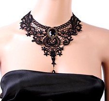 Women Vintage Victorian Gothic Black Lace Necklace Choker Collar Punk Pendant