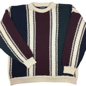 Vintage Chaps Ralph Lauren Sweater 3D Textured 90's Color Block Size XL Made USA