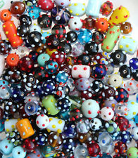WHOLESALE LAMPWORK BEADS - MIXED COLORS, SHAPES, SIZES W/DOTS - 1 POUND