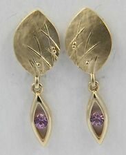 Scottish Ola Gorie 9ct Yellow Gold Pink Sapphire Mistral Earrings
