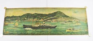75x25 SIGNED ORIGINAL TRAVEL TOURIST POSTER HONG KONG CHINA 1890-1900 PRINT