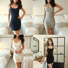 Long Vest Shirt Sleeveless Top Women Cami Strap Bodycon Mini Dress Skirt UZ