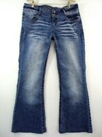 Wallflower Bell Bottom Jeans Super Flare Low Rise Stretch Whisker Fade Womens 13