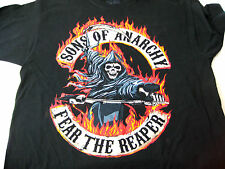 Sons of Anarchy Mens T-Shirt Size XL Fear the Reaper Black Flamed