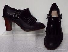 Clarks Narrative 4 / 37 Black leather ankle boots High block heel Zip Fringe alm