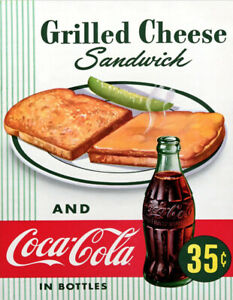 VINTAGE RETRO COCA COLA US GRILLED CHEESE TOAST CAFE KITCHEN MAN CAVE METAL SIGN