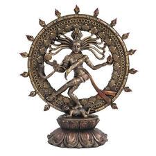 "Dancing Shiva Nataraja Hindu God Statue Figurine with Bronze-Tone Finish 9"" Tall"