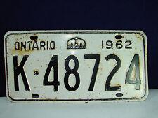 """VINTAGE 1962 ONTARIO Automobile License Plate """"K-48724"""" Old! Metal! Crown!"""