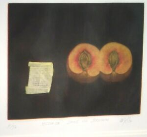 Vintage MYSTERY ARTIST Surreal SIGNED Etching Message in a Apricot FRENCH Modern