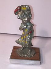 Vintage Peltro Italy Pewter Figurine Little Girl  In Dress Cesellato A Mano