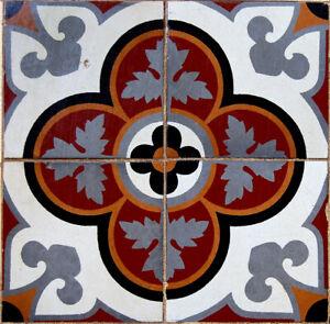 """1900 Original ANTIQUE Art HAND MADE Terrazzo 4 RARE DECO FLOOR TILES 16/16"""""""