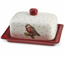 Christmas RED ROBIN BUTTER Storage DISH with LID COUNTRY KITCHEN