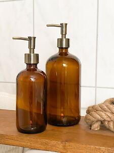 Chic Antique Flasche mit 2 x Pumpe Seifenspender Glas Braun 480 ml