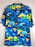 Aloha Republic Hawaiian Shirt Mens XL Blue Sunset Palm Trees Made in Hawaii