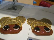 Iron on embroidered applique-LOL Queen Bee doll two 3in. heads  any skin tone