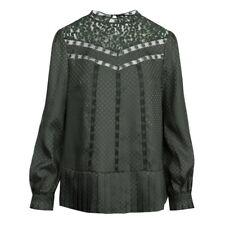 Ted Baker Animal Mesh Lace Swing Top Blouse Dark Green UK Size 10 RRP £129