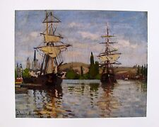 "CLAUDE MONET ""SHIPS RIDING THE SEINE AT ROUEN"" Plate Signed Lithograph Art"