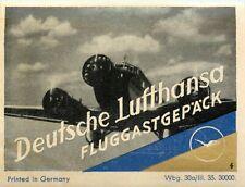 Fluggastgepäck ~DEUTSCHE LUFTHANSA~ Great Old Airline Luggage Label, 1935