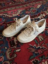 Mephisto Womens Runoff White Leather Fabric Air-Jet Sneaker Sz 7 Silver Work
