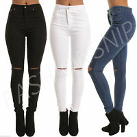 Womens HIGH WAISTED SKINNY JEANS Jeggings Ladies RIPPED PANTS 6 8 10 12 14 16