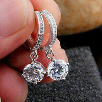 3.00Ct Round Cut Diamond Drop Dangle Antique Hoop Earrings Solid 10k White Gold