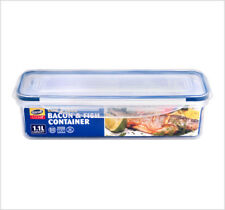 2 x 1.1Ltr Clip and Lock Long Bacon Fish Plastic Food Container Storage Box ZOOM