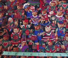 2 YDS TEDDY BEARS & TOYS CHRISTMAS HOLIDAY PRINT COTTON FABRIC HANCOCK OOP