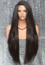 """38"""" Extra Long Full Lace Front Wig Layered Wavy Dark Brown Hair Piece4 NWT"""