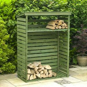 Large Wooden Garden Outdoor Log Firewood Burner Store Storage Unit Shed Shelf