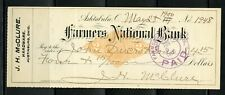 US FARMERS NATIONAL BANK OF ASHTABULA, OHIO CANCELLED CHECK 5/28/1900