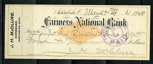 US FARMERS NATIONAL BANK OF ASHTABULA, OHIO CANCELLED CHECK 5/28/1900