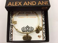 Alex and Ani Queens Crown IV Bangle Bracelet Rafaelian Gold NWTBC