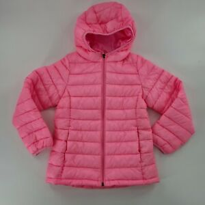 Amazon Essentials sz 8 Neon Pink Big Girl's Lightweight Packable Hooded Puffer